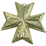 Sterling Silver Reed & Barton Christmas Cross Ornament 1977