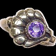 SALE Art Nouveau Amethyst Ring Shell or Floral Design 10k Gold