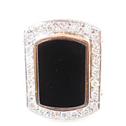 Retro Ring LARGE Impressive Onyx & Diamond 14K Gold