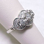 Art Deco Ring Diamond .48 ctw 14k White Gold ~ Past, Present & Future