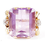IMPRESSIVE Retro AMETHYST 16+ Carat Emerald Cut Ring with Fancy Shoulders 18K Yellow Gold