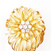 French RETRO Brooch 18K Yellow Gold Diamond