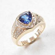 Fancy Cut Sapphire & Diamond Ring 2.02 Carats Gem Weight 14k Gold