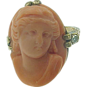 RARE Sculpturesque Coral Cameo & Diamond Ring 10k Gold sz 4 Mid-Victorian Era