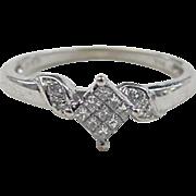 SALE Vintage 14k White Gold Diamond Ring