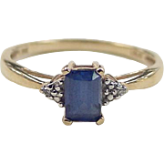 SALE Vintage 10k Gold Sapphire and Diamond Ring