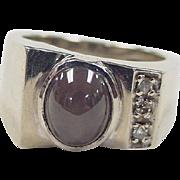 SALE Vintage 14k White Gold Corundum and Diamond Ring