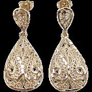 SALE Vintage 14k Gold Filigree Dangle Earrings