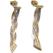 SALE Vintage 14k Gold Tri-Color Earrings