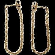 SALE Vintage 14k Gold Diamond Cut Rope Hoop Earrings