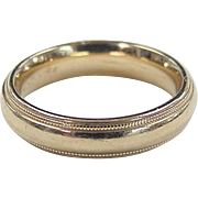 SALE Vintage 14k Gold Milgrain Wedding Band ~ Comfort Fit