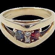 SALE Vintage 14k Gold Garnet, Blue Topaz and Diamond Ring