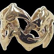 SALE Vintage 14k Gold Dolphin Ear Cuff