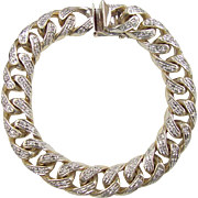 SALE HEAVY & WIDE Men's 14k Gold .69 ctw Diamond Curb Link Bracelet ~ 82.1 Grams
