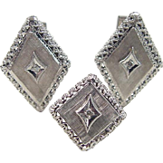 SALE Vintage 14k White Gold Diamond Cuff Links and Tie Pin