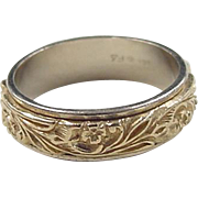 SALE Vintage 14k Gold Two-Tone Floral Band Ring