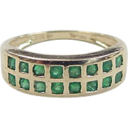 SALE Vintage 10k Gold Natural Emerald Ring
