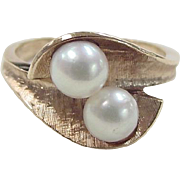 SALE Vintage 10k Gold Cultured Pearl Ring