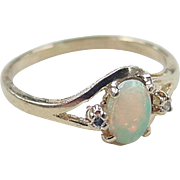 SALE Vintage 10k Gold Opal and Diamond Ring