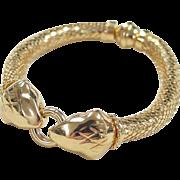 SALE Vintage 14k Gold Python Bracelet