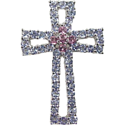 SALE Vintage 14k White Gold Iolite and Pink Garnet Cross Pendant