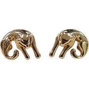 SALE Vintage 14k Gold Cat Stud Earrings