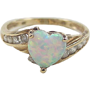 SOLD Vintage 10k Gold Opal Heart and Faux Diamond Ring