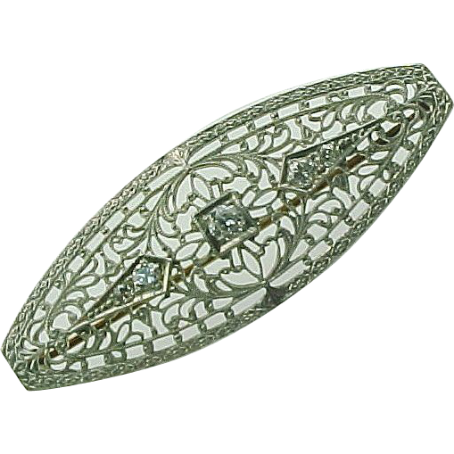 Item ID: Edwardian Filigree Brooch In Shop Backroom