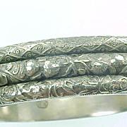 SALE Ornate Triple Row Engraved Sterling Hinged Bangle ART NOUVEAU