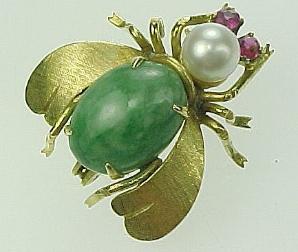 Item ID: Insect Pin Jade, Pearl & Ruby In Shop Backroom