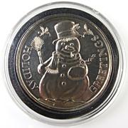 SALE PENDING Vintage 999 Fine Silver Round Bullion - Christmas - Snowman