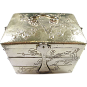 RARE Antique Sterling Silver 3-Tiered Traveling Jewelry Box - Engraved Floral Design