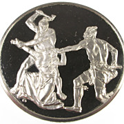SOLD Vintage 925 Silver Round - Death of Jane McCrea 1894 - John Vanderlyn