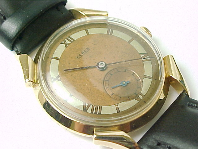 Vintage Ceres Gruen 18kt Gold Fancy Lug Mens Wristwatch