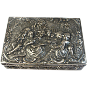 Estate Small Ornate Sterling Silver Box - Minstrel Theme Repousse with Floral Boarders