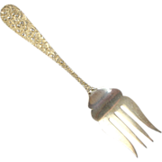 """REDUCED Vintage Repousse Sterling Silver Cold Meat Fork Small Size - Stieff """"Rose"""" P"""