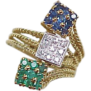 REDUCED Vintage 18k Gold Ring Sapphire Diamond & Emerald