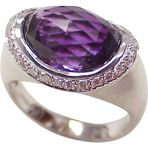 unique amethyst 18k white gold ring from