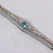 Vintage Bar Pin 1 Carat Aquamarine 14k Gold Platinum Top 1920's