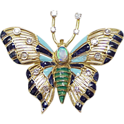 Butterfly Brooch Diamond, Opal, 14k Gold, Enamel Accent