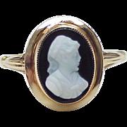 Edwardian Ring Hard Stone Cameo 14k Gold