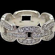 Vintage Band / Ring 18k White Gold Diamond Chain Link
