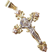 Ornate Crucifix Cross Pendant 14k Tri-Color Gold