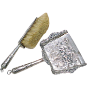 Dutch 833 Silver Silent Butler / Crumb Tray & Brush