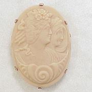 Czech Pressed Glass Cameo Pendant Brooch 10k Gold