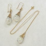 Vintage Floating Opal Earrings & Necklace Set 14k Gold