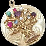 Vintage Large 14k Gold Jeweled Charm ~ Flower Basket 1950's