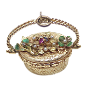 BIG Jeweled 14k Gold Moving Flower Basket Charm