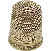 SOLD Simons Bros. 14k Gold Thimble Ornate Engraved  Size 10