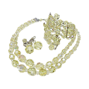 Chartreuse Crystal Parure Necklace Earrings & Bracelet, Laguna